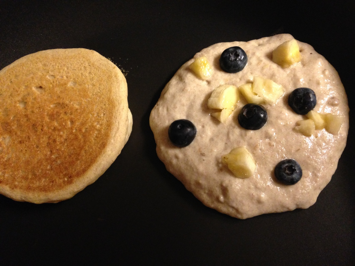 Blueberry Banana Walnut Pancakes
