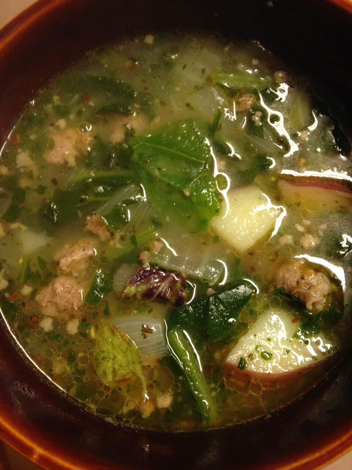 Sausage Potato Spinach Soup