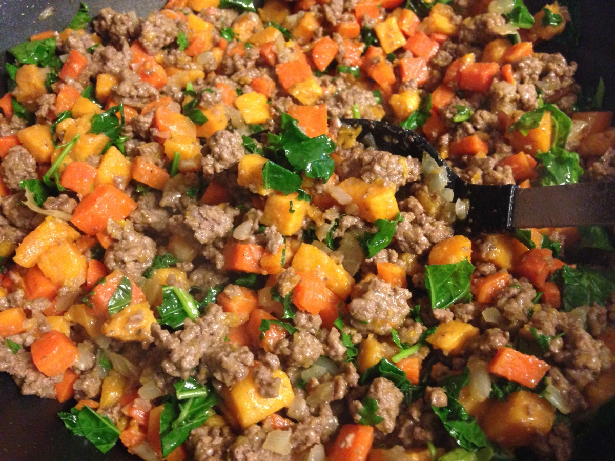 One Skillet Dinner- Beef, Sweet Potato and Kale